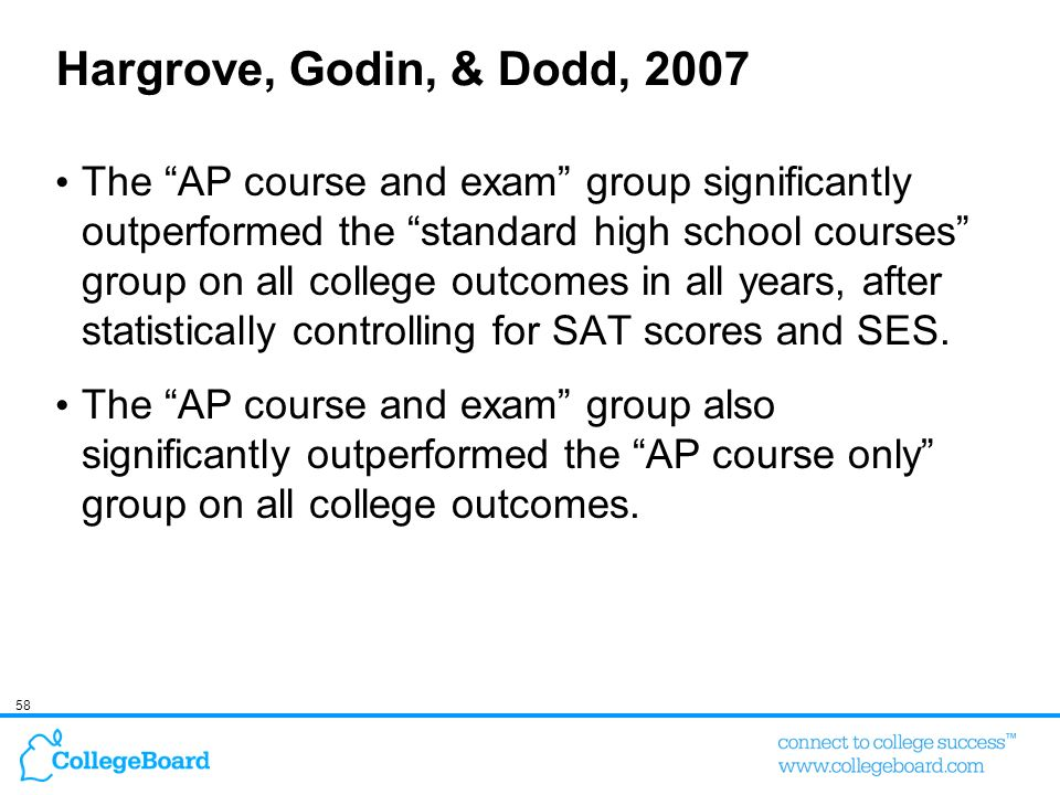 58 Hargrove, Godin, & Dodd, 2007 The AP course and exam group significantly outperformed the standard high school courses group on all college outcome