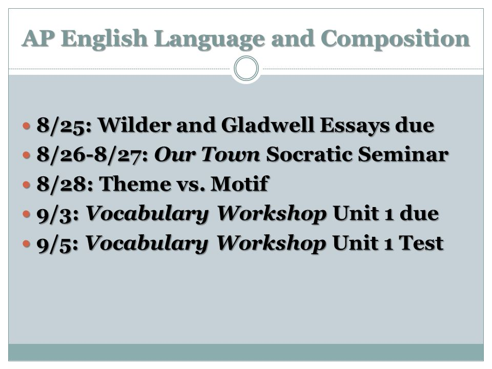 AP English Language and Composition 8/25: Wilder and Gladwell Essays due 8/25: Wilder and Gladwell Essays due 8/26-8/27: Our Town Socratic Seminar 8/2