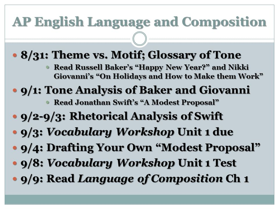 AP English Language and Composition 8/31: Theme vs. Motif; Glossary of Tone 8/31: Theme vs. Motif; Glossary of Tone Read Russell Bakers Happy New Year