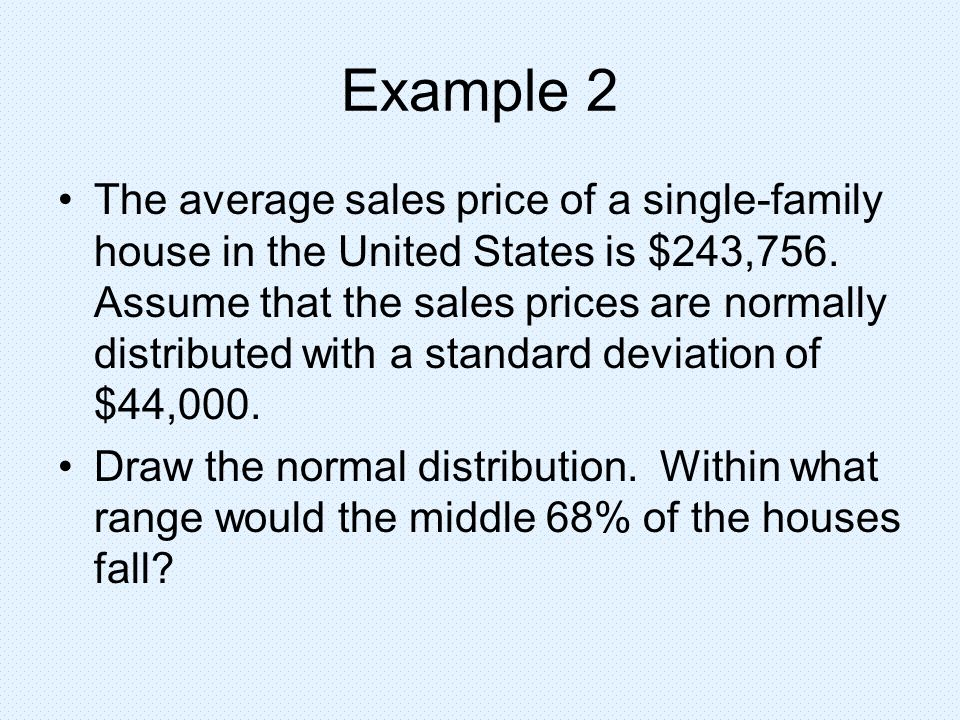 Example 2 The average sales price of a single-family house in the United States is $243,756. Assume that the sales prices are normally distributed wit
