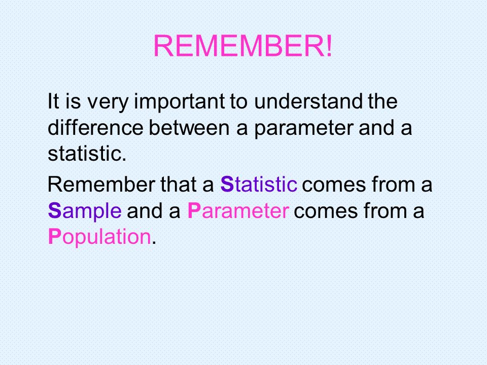 REMEMBER! It is very important to understand the difference between a parameter and a statistic. Remember that a Statistic comes from a Sample and a P