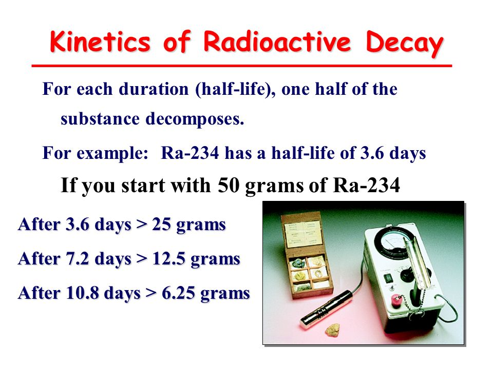 Kinetics of Radioactive Decay For each duration (half-life), one half of the substance decomposes. For example: Ra-234 has a half-life of 3.6 days If