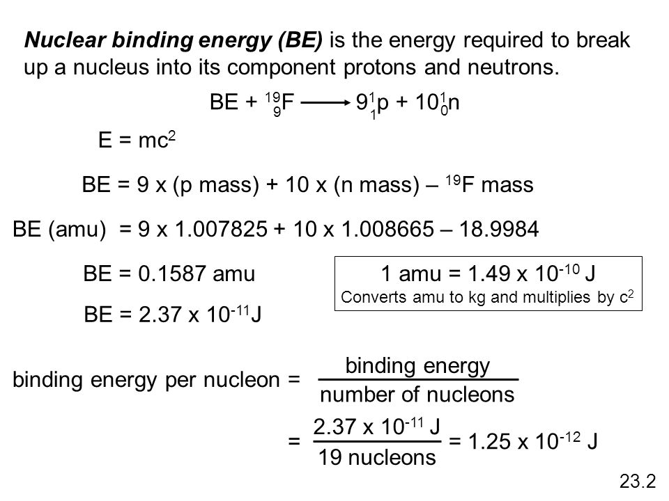 Nuclear binding energy (BE) is the energy required to break up a nucleus into its component protons and neutrons. BE + 19 F 9 1 p + 10 1 n 9 1 0 BE =