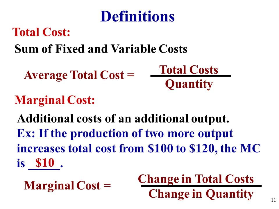 Fixed Costs: Costs for fixed resources that DONT change with the amount produced Ex: Rent, Insurance, Managers Salaries, etc. Average Fixed Costs = Fi