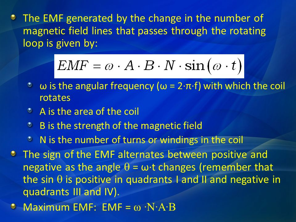 The EMF generated by the change in the number of magnetic field lines that passes through the rotating loop is given by: ω is the angular frequency (ω