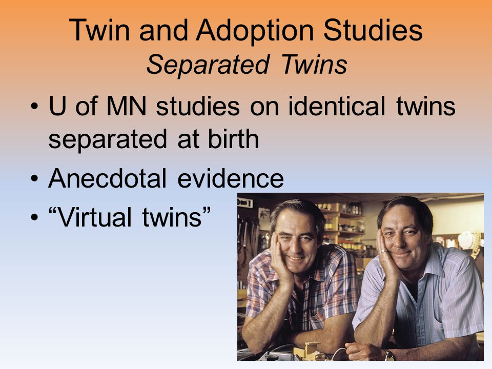Twin and Adoption Studies Separated Twins U of MN studies on identical twins separated at birth Anecdotal evidence Virtual twins