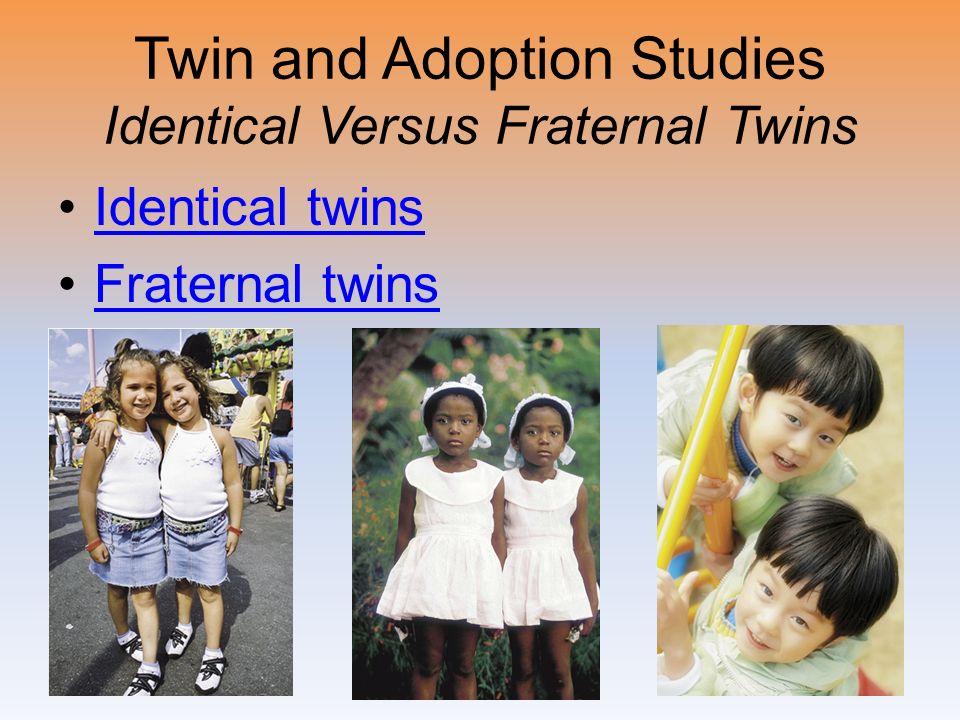 Twin and Adoption Studies Identical Versus Fraternal Twins Identical twins Fraternal twins