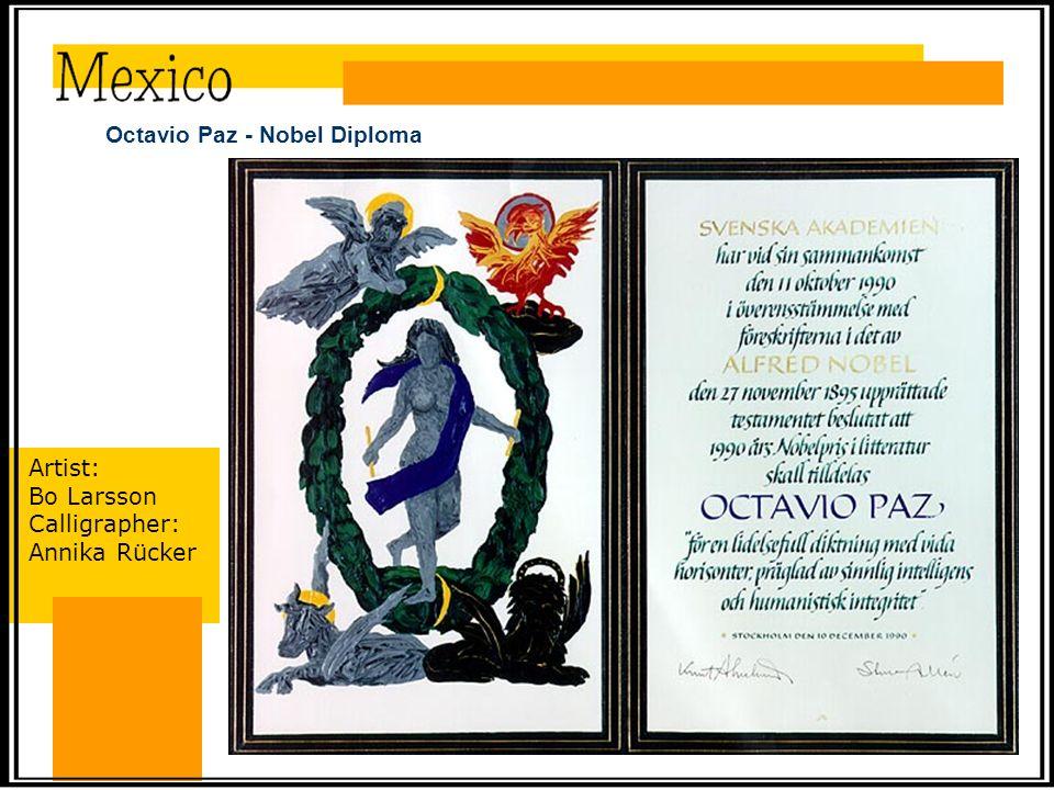 Octavio Paz - Nobel Diploma Artist: Bo Larsson Calligrapher: Annika Rücker