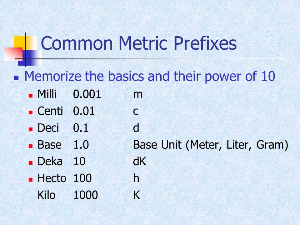 Common Metric Prefixes Memorize the basics and their power of 10 Milli0.001m Centi0.01c Deci0.1d Base1.0Base Unit (Meter, Liter, Gram) Deka10dK Hecto1