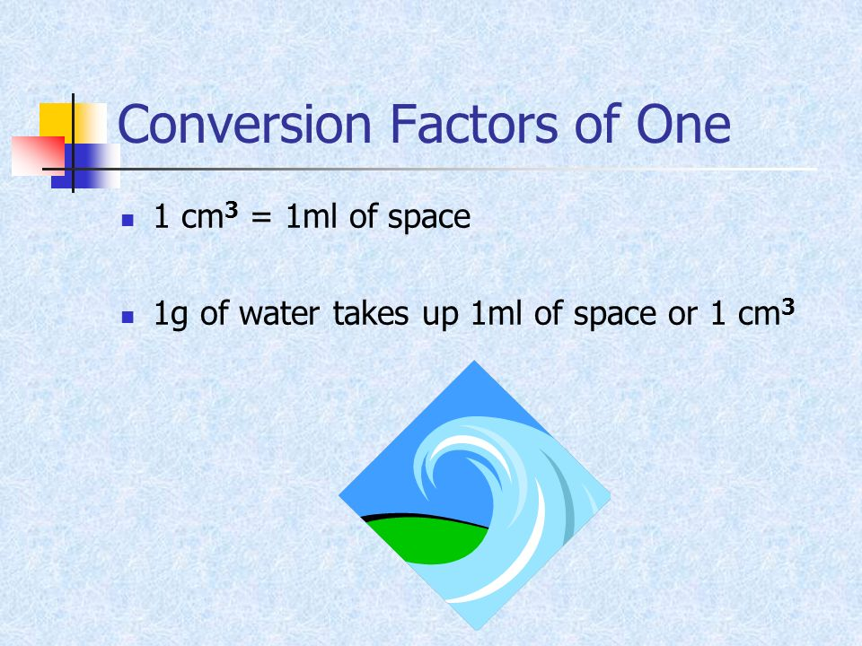 Conversion Factors of One 1 cm 3 = 1ml of space 1g of water takes up 1ml of space or 1 cm 3