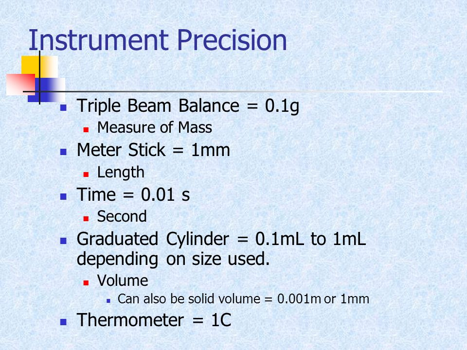 Instrument Precision Triple Beam Balance = 0.1g Measure of Mass Meter Stick = 1mm Length Time = 0.01 s Second Graduated Cylinder = 0.1mL to 1mL depend