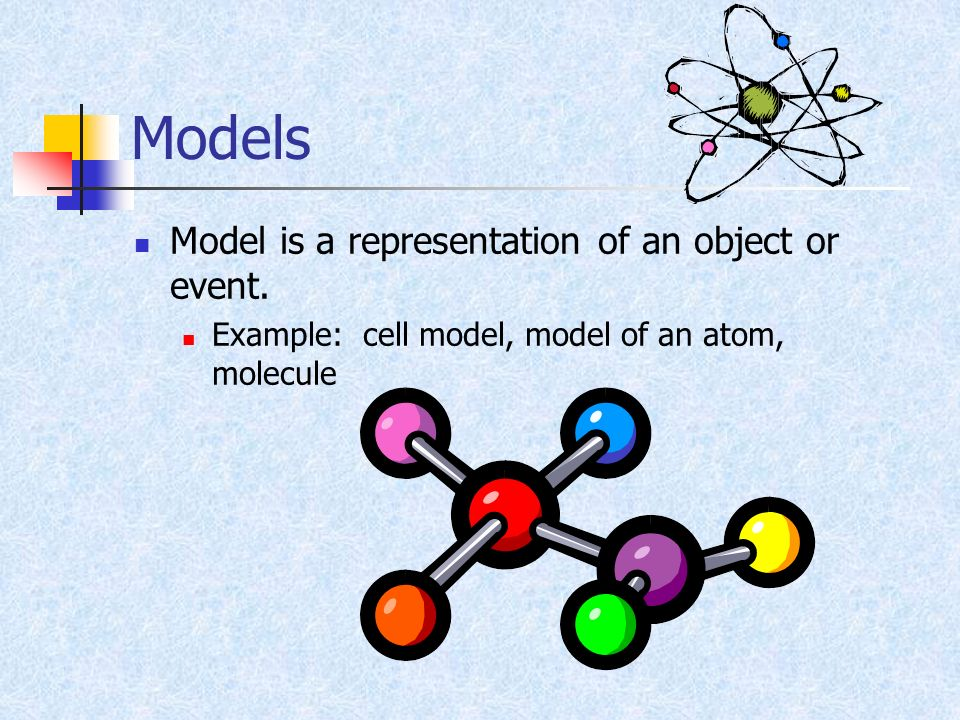 Models Model is a representation of an object or event. Example: cell model, model of an atom, molecule