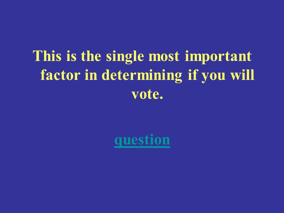 This is the single most important factor in determining if you will vote. question