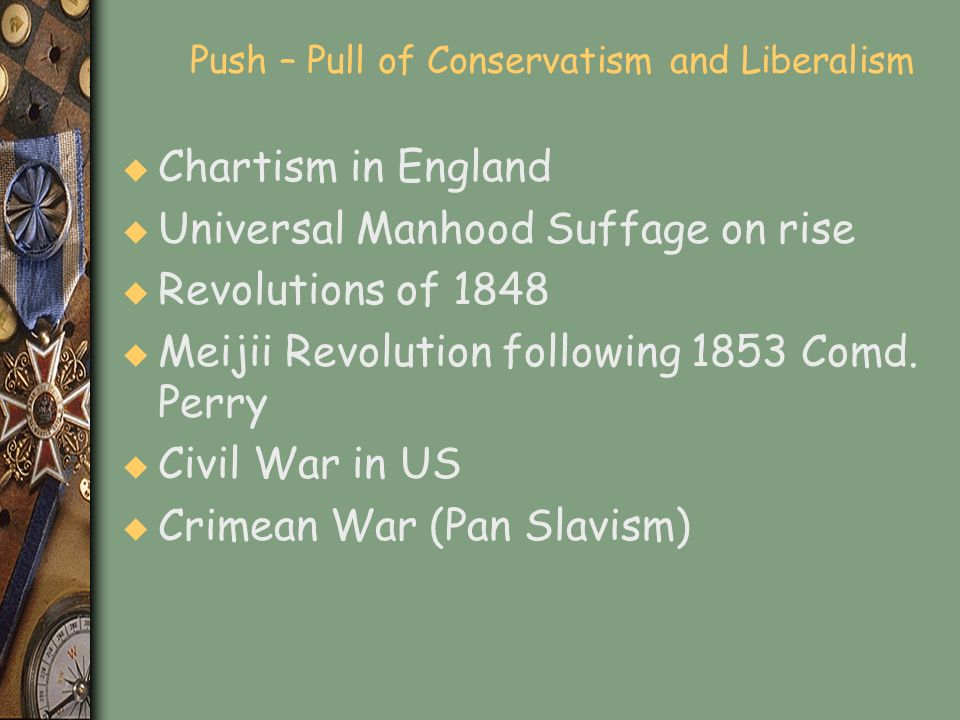 Push – Pull of Conservatism and Liberalism u Chartism in England u Universal Manhood Suffage on rise u Revolutions of 1848 u Meijii Revolution followi