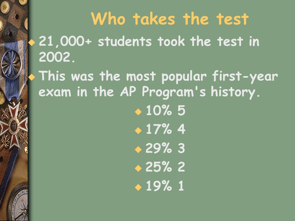 Who takes the test u 21,000+ students took the test in 2002. u This was the most popular first-year exam in the AP Program's history. u 10% 5 u 17% 4