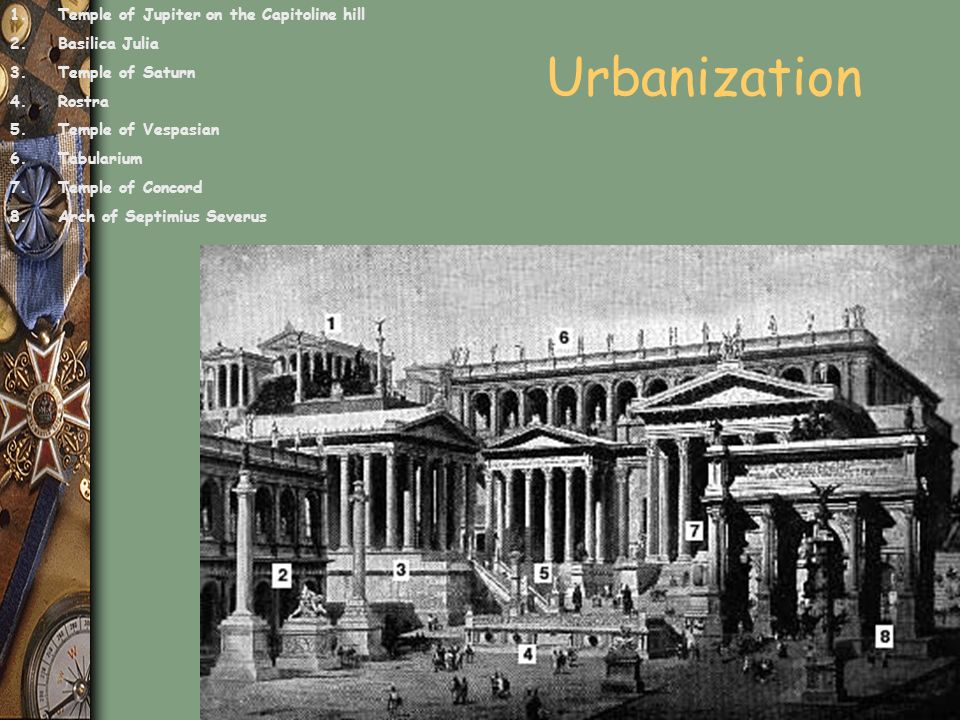 Urbanization 1.Temple of Jupiter on the Capitoline hill 2.Basilica Julia 3.Temple of Saturn 4.Rostra 5.Temple of Vespasian 6.Tabularium 7.Temple of Co