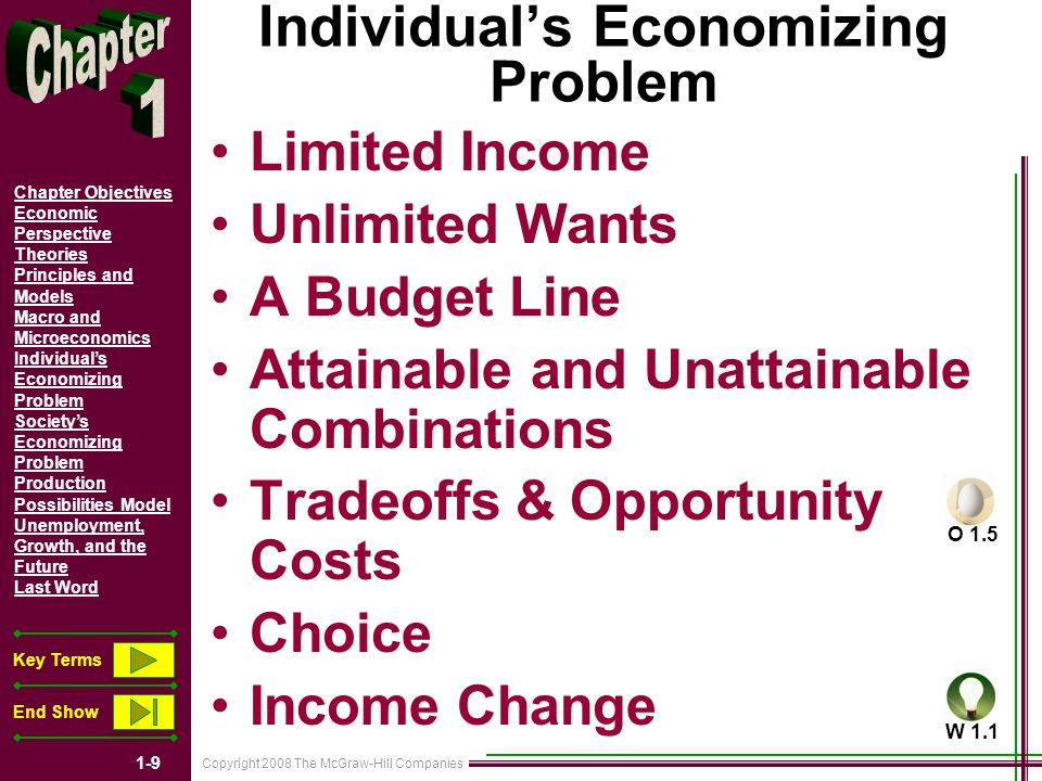 Copyright 2008 The McGraw-Hill Companies 1-9 Chapter Objectives Economic Perspective Theories Principles and Models Macro and Microeconomics Individuals Economizing Problem Societys Economizing Problem Production Possibilities Model Unemployment, Growth, and the Future Last Word Key Terms End Show Individuals Economizing Problem Limited Income Unlimited Wants A Budget Line Attainable and Unattainable Combinations Tradeoffs & Opportunity Costs Choice Income Change O 1.5 W 1.1