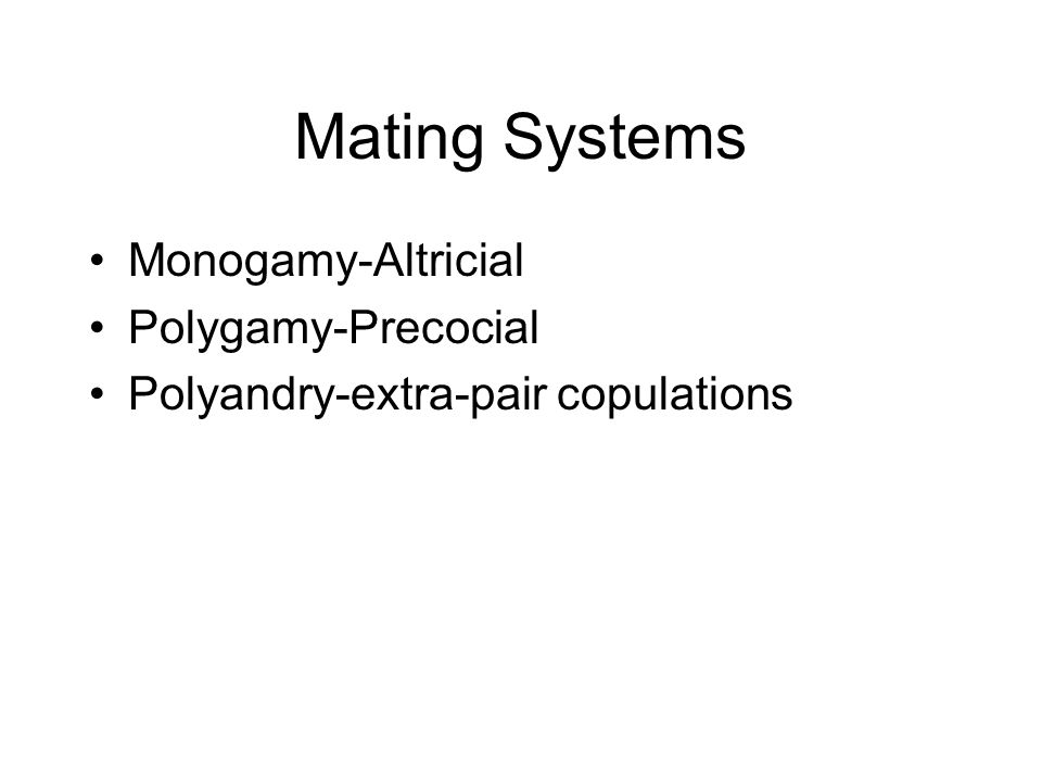 Mating Systems Monogamy-Altricial Polygamy-Precocial Polyandry-extra-pair copulations