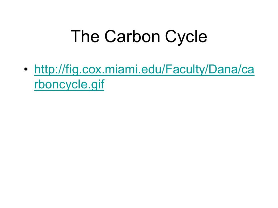 The Carbon Cycle http://fig.cox.miami.edu/Faculty/Dana/ca rboncycle.gifhttp://fig.cox.miami.edu/Faculty/Dana/ca rboncycle.gif