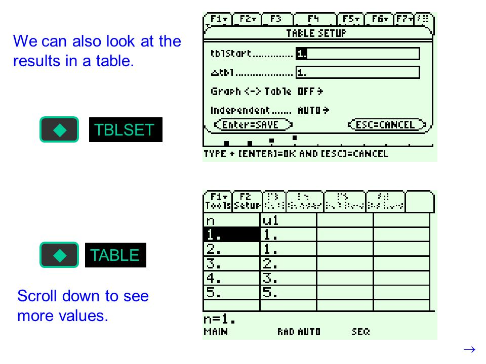 TBLSET TABLE We can also look at the results in a table. Scroll down to see more values.