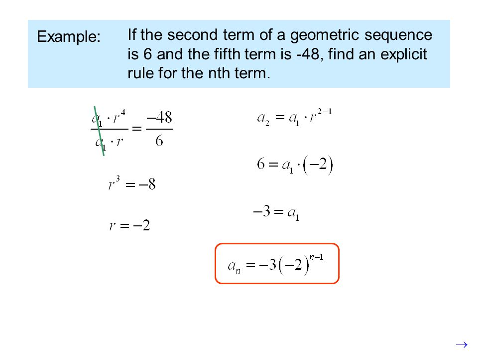 Example: If the second term of a geometric sequence is 6 and the fifth term is -48, find an explicit rule for the nth term.