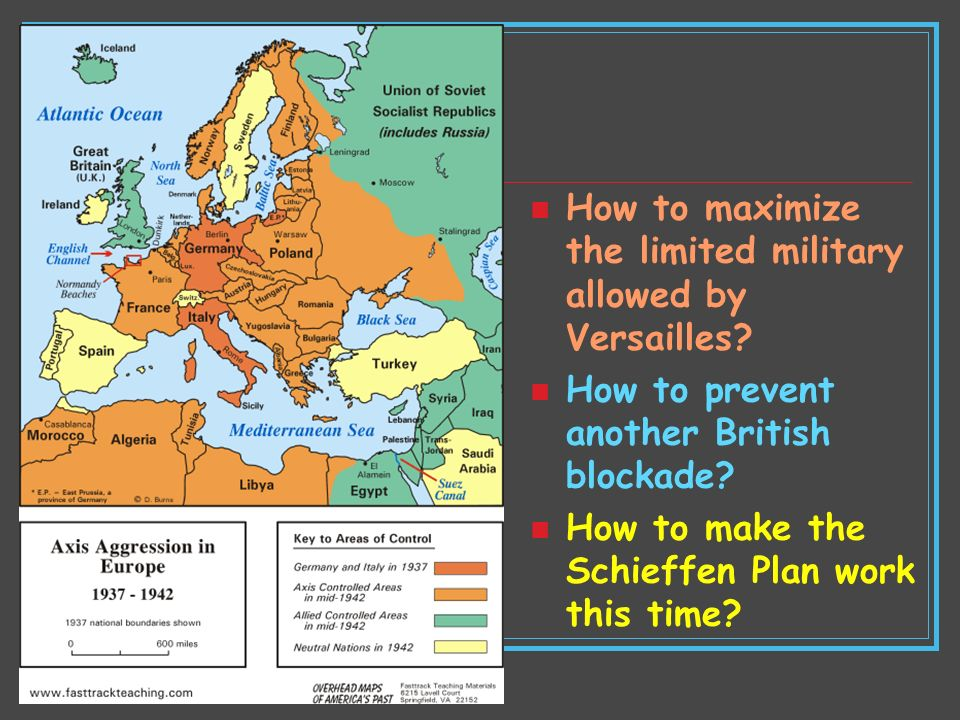How to maximize the limited military allowed by Versailles? How to prevent another British blockade? How to make the Schieffen Plan work this time?