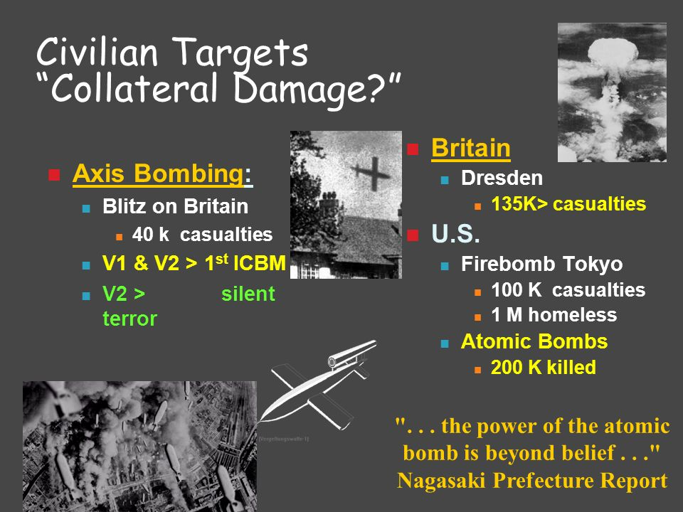 Civilian Targets Collateral Damage? Axis Bombing: Blitz on Britain 40 k casualties V1 & V2 > 1 st ICBM V2 > silent terror Britain Dresden 135K> casual