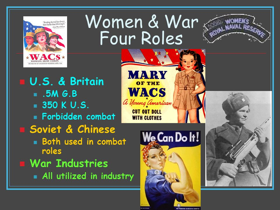 Women & War Four Roles U.S. & Britain.5M G.B 350 K U.S. Forbidden combat Soviet & Chinese Both used in combat roles War Industries All utilized in ind