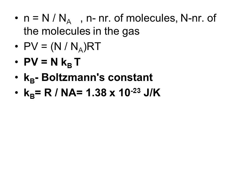 n = N / N A, n- nr. of molecules, N-nr.