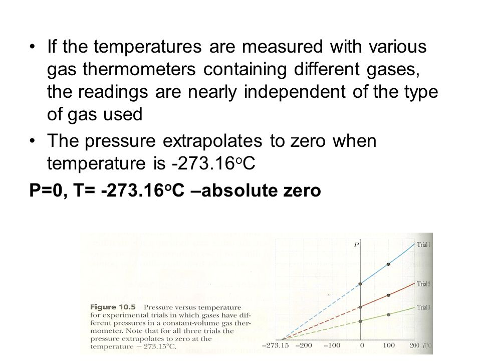 If the temperatures are measured with various gas thermometers containing different gases, the readings are nearly independent of the type of gas used