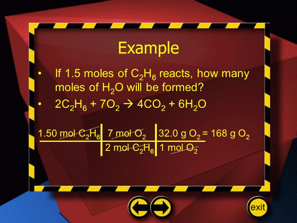 Example If 1.5 moles of C 2 H 6 reacts, how many moles of H 2 O will be formed? 2C 2 H 6 + 7O 2 4CO 2 + 6H 2 O 1.50 mol C 2 H 6 7 mol O 2 32.0 g O 2 =