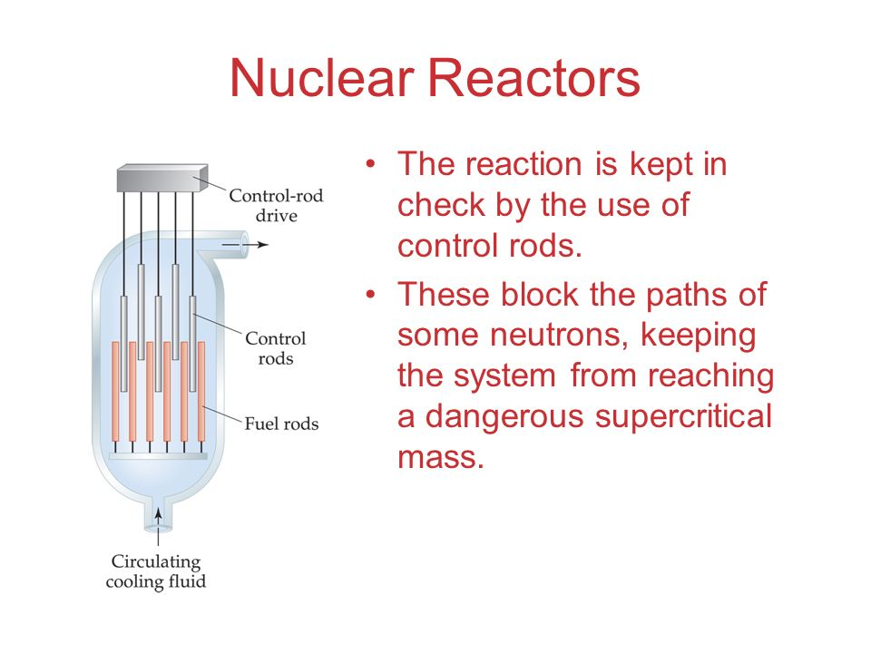 Nuclear Reactors The reaction is kept in check by the use of control rods. These block the paths of some neutrons, keeping the system from reaching a