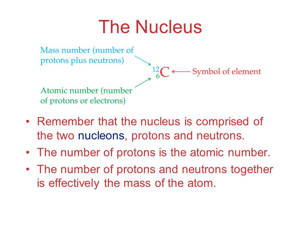 The Nucleus Remember that the nucleus is comprised of the two nucleons, protons and neutrons. The number of protons is the atomic number. The number o