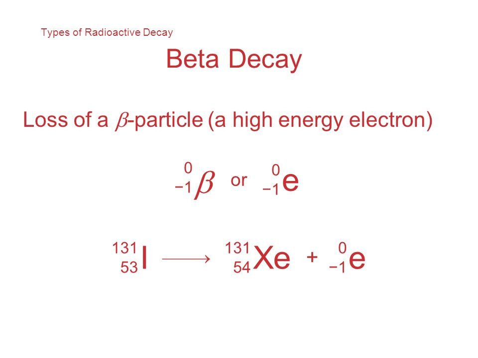 Types of Radioactive Decay Beta Decay Loss of a -particle (a high energy electron) 0 1 e 0 1 or I 131 53 Xe 131 54 + e 0 1