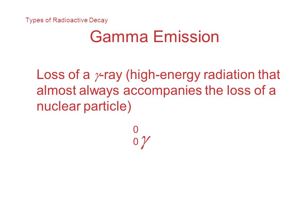 Types of Radioactive Decay Gamma Emission Loss of a -ray (high-energy radiation that almost always accompanies the loss of a nuclear particle) 0000
