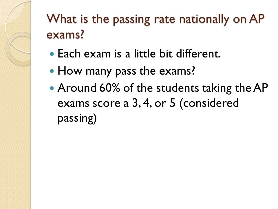 What is the passing rate nationally on AP exams.Each exam is a little bit different.