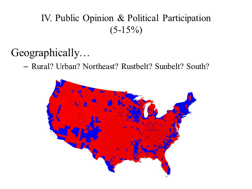 IV. Public Opinion & Political Participation (5-15%) Geographically… – Rural? Urban? Northeast? Rustbelt? Sunbelt? South?