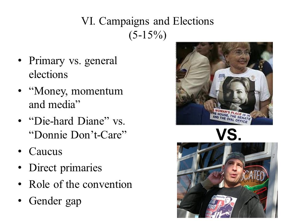 Primary vs. general elections Money, momentum and media Die-hard Diane vs.Donnie Dont-Care Caucus Direct primaries Role of the convention Gender gap V