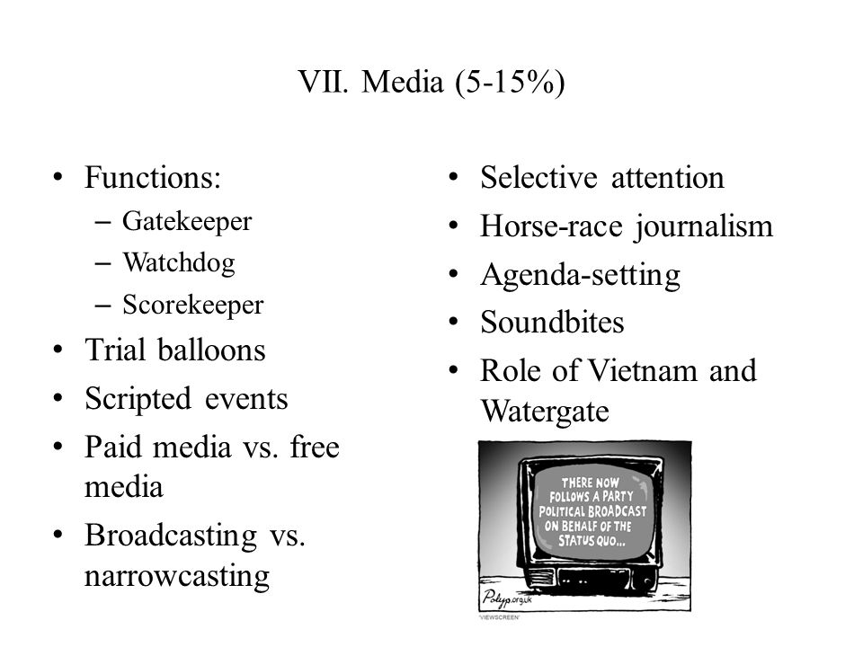 VII. Media (5-15%) Functions: – Gatekeeper – Watchdog – Scorekeeper Trial balloons Scripted events Paid media vs. free media Broadcasting vs. narrowca