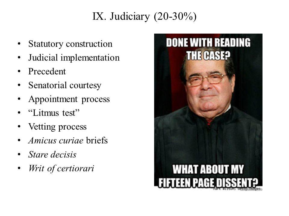 IX. Judiciary (20-30%) Statutory construction Judicial implementation Precedent Senatorial courtesy Appointment process Litmus test Vetting process Am