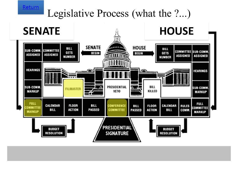 Legislative Process (what the ?...) SENATE HOUSE Return