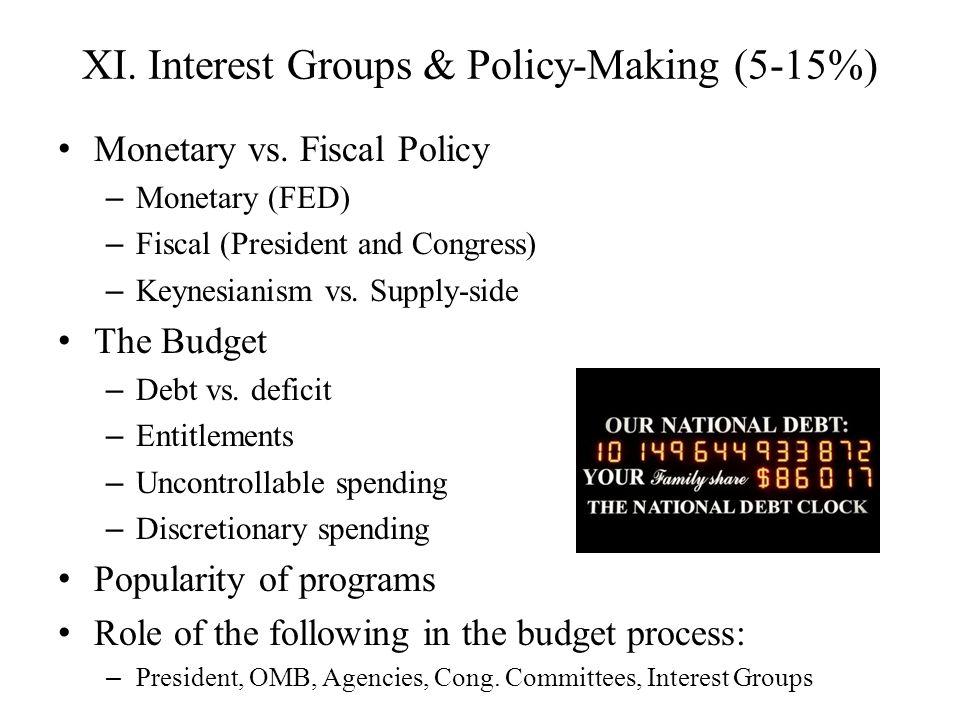 XI. Interest Groups & Policy-Making (5-15%) Monetary vs. Fiscal Policy – Monetary (FED) – Fiscal (President and Congress) – Keynesianism vs. Supply-si