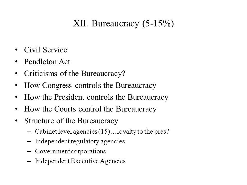 XII. Bureaucracy (5-15%) Civil Service Pendleton Act Criticisms of the Bureaucracy? How Congress controls the Bureaucracy How the President controls t