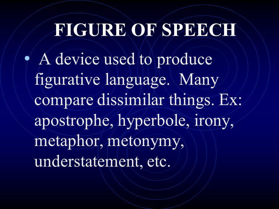 FIGURE OF SPEECH A device used to produce figurative language. Many compare dissimilar things. Ex: apostrophe, hyperbole, irony, metaphor, metonymy, u