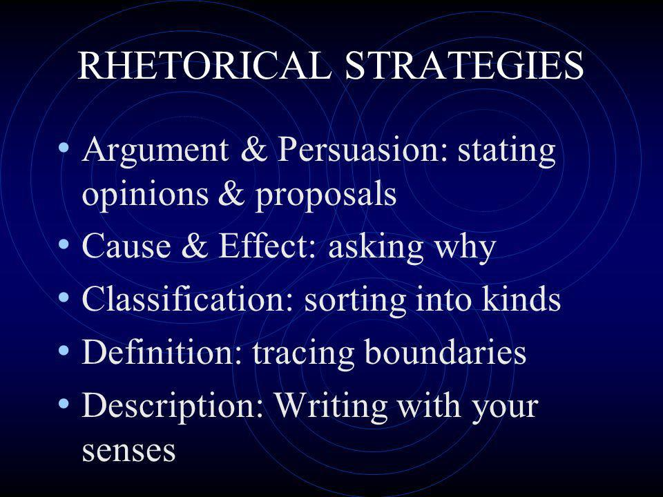 RHETORICAL STRATEGIES Argument & Persuasion: stating opinions & proposals Cause & Effect: asking why Classification: sorting into kinds Definition: tr