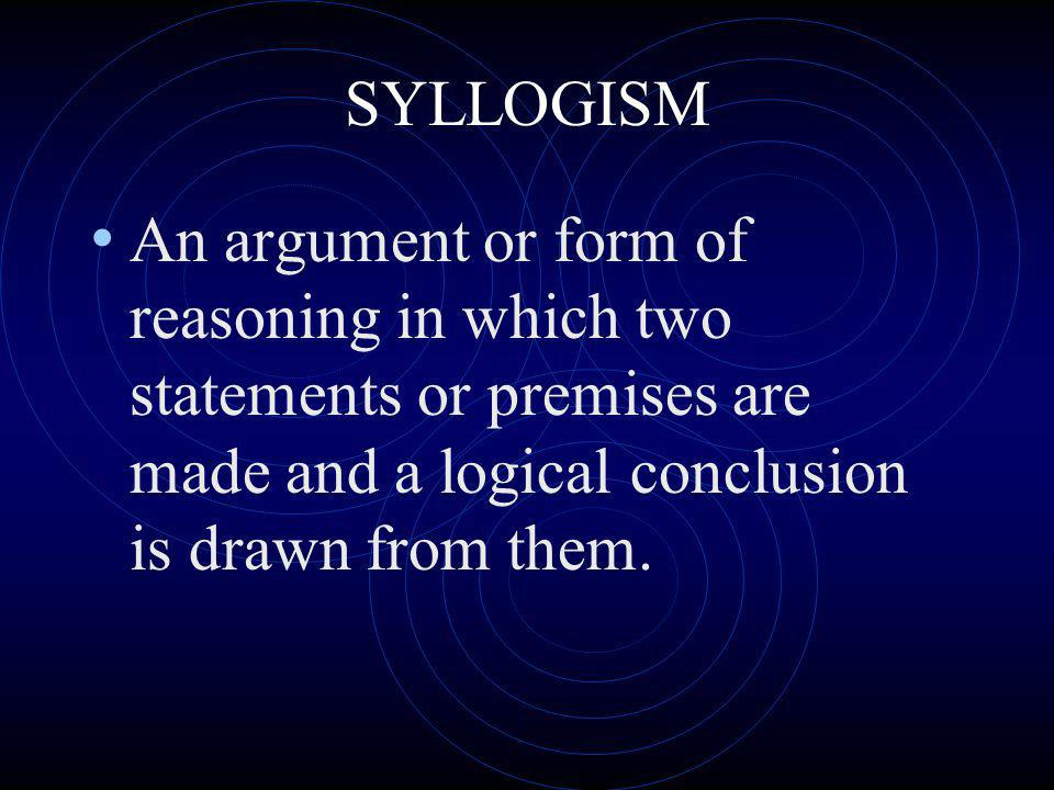 SYLLOGISM An argument or form of reasoning in which two statements or premises are made and a logical conclusion is drawn from them.