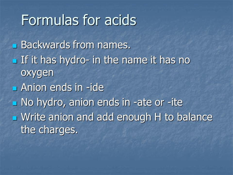 Formulas for acids Backwards from names. Backwards from names. If it has hydro- in the name it has no oxygen If it has hydro- in the name it has no ox