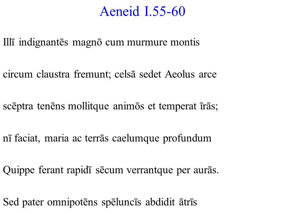 Aeneid I.55-60 Illī indignantēs magnō cum murmure montis circum claustra fremunt; celsā sedet Aeolus arce scēptra tenēns mollitque animōs et temperat