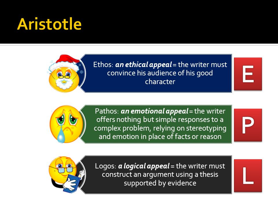 Ethos: an ethical appeal = the writer must convince his audience of his good character Pathos: an emotional appeal = the writer offers nothing but sim