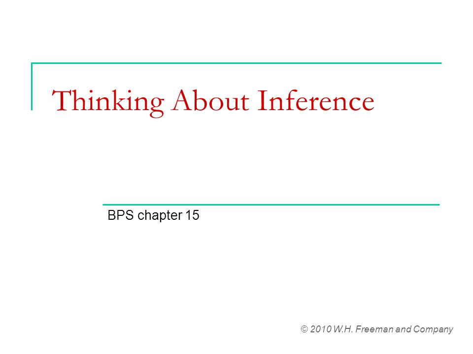 Thinking About Inference BPS chapter 15 © 2010 W.H. Freeman and Company